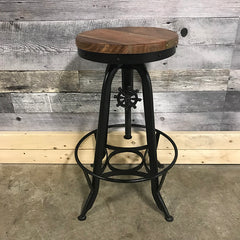 Industrial counter stool with acacia wood seat