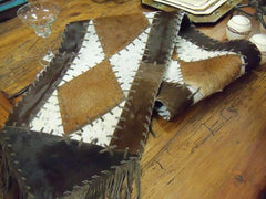 cowhide-table-runner on dining table