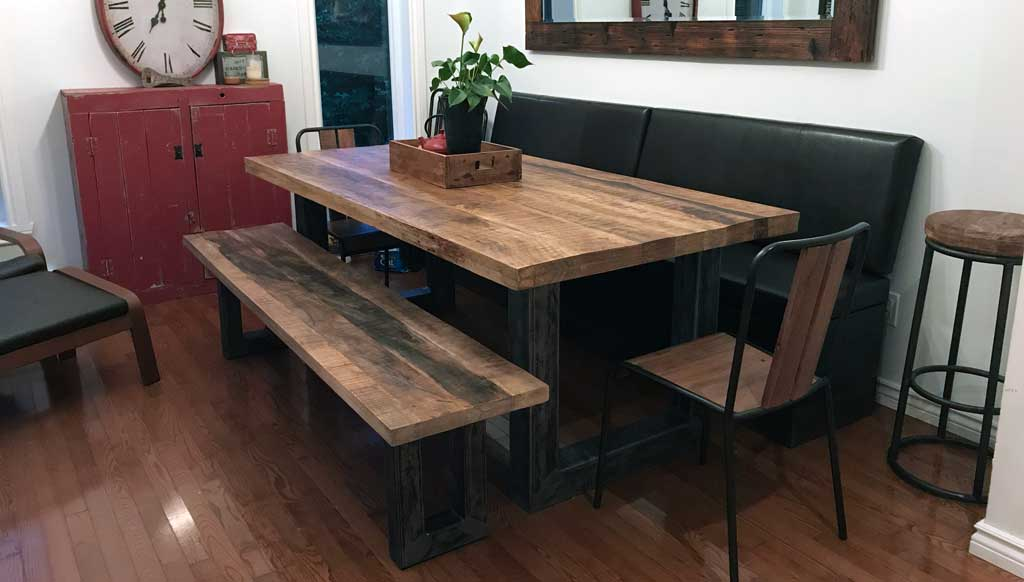 Balance out heavy dining tables with benches