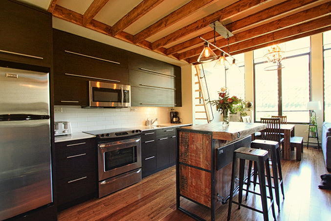 Small loft condo in montreal design ideas with rustic furniture