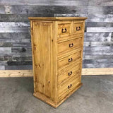 6 drawer rustic pine tall boy