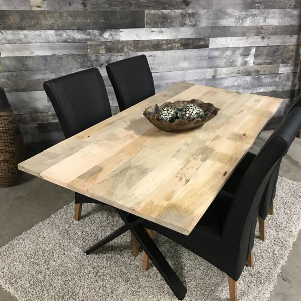 Industrial mango wood dining table
