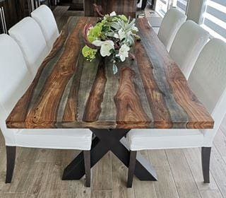 84 Zen Industrial Grey Indian Rosewood dining table - CHUNKY_X - $899.00