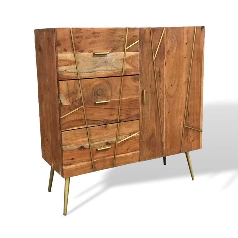 Dover contemporary Small Acacia wood buffet