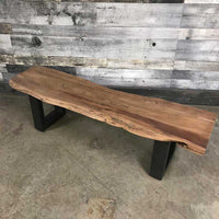 63 inch live edge acacia wood bench