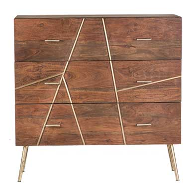 Dover contemporary 3 drawer Acacia wood dresser