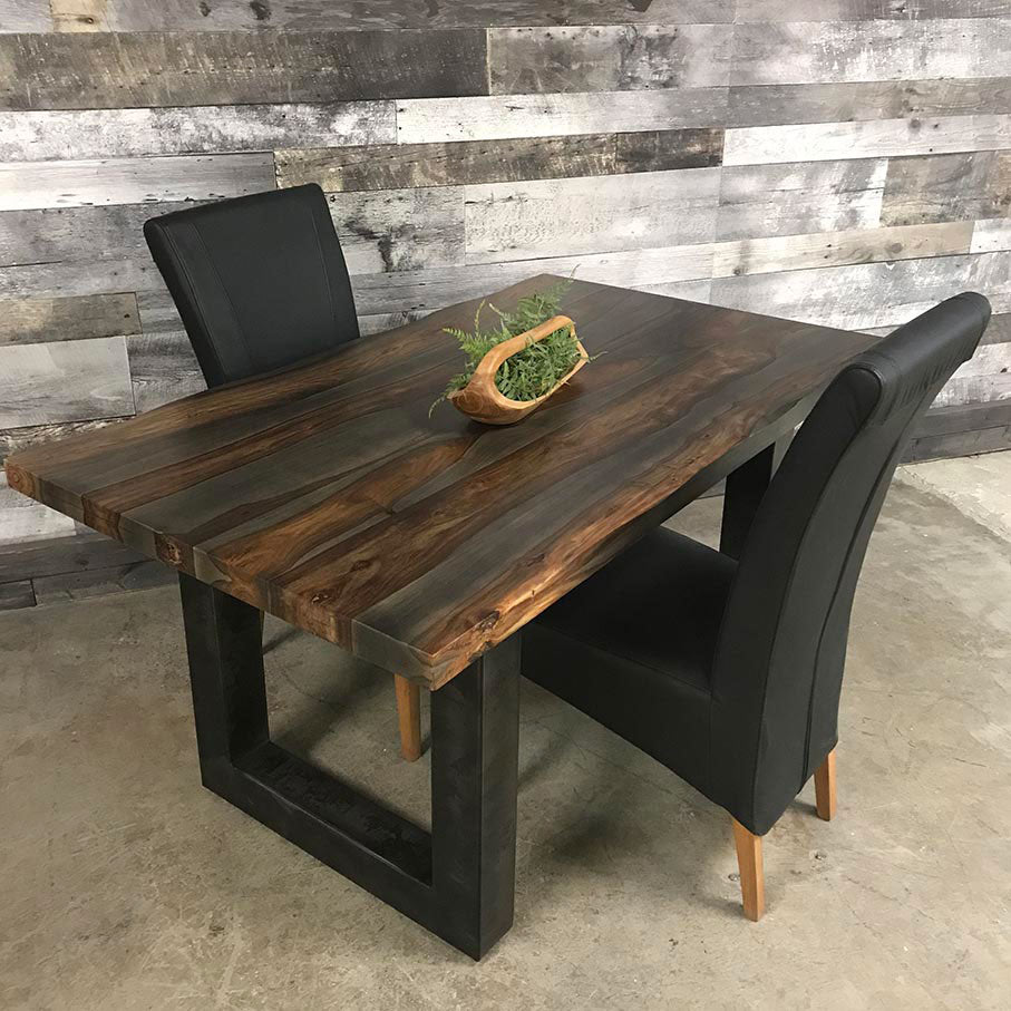 Rosewood dining table with 2 leather chairs