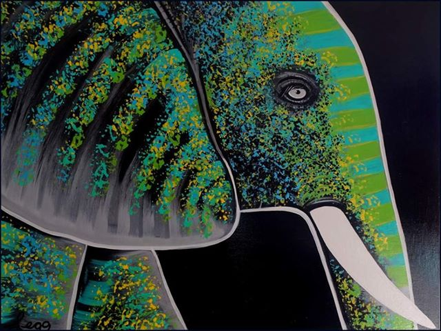 Colourful Green Elephant painting by Leo Gobeil