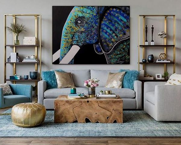Colourful turquoise Elephant painting by Leo Gobeil