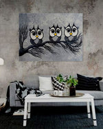 Leo Gobeil family painting owls made in quebec