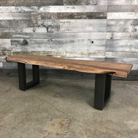 acacia wood bench with metal U legs