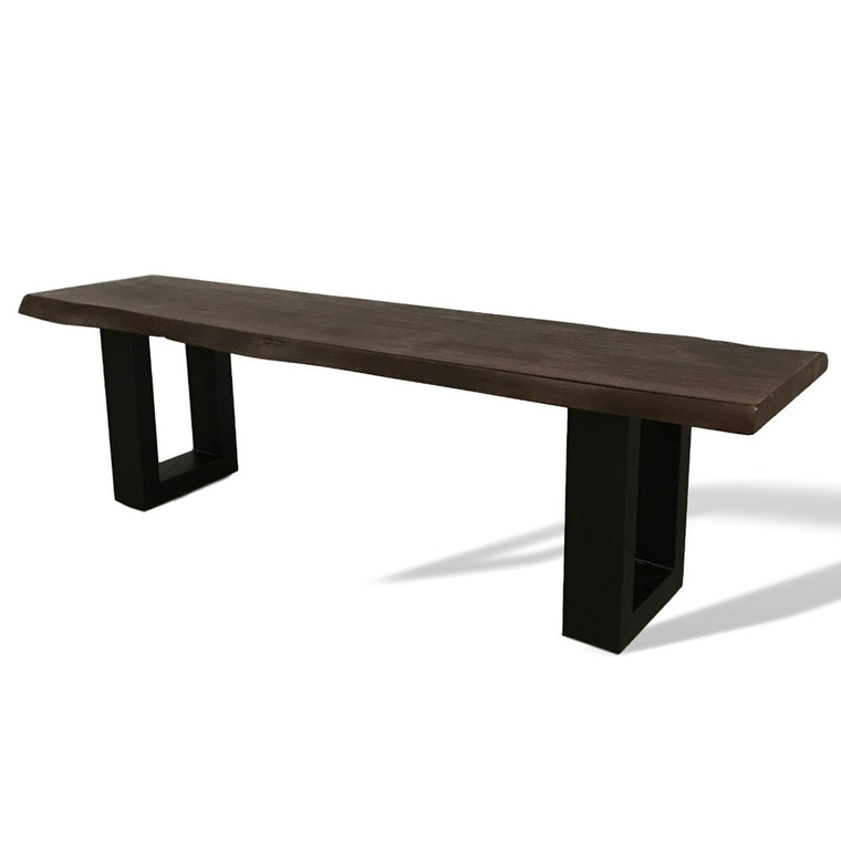 "100% solid 1.5"" thick acacia bench with u legs"