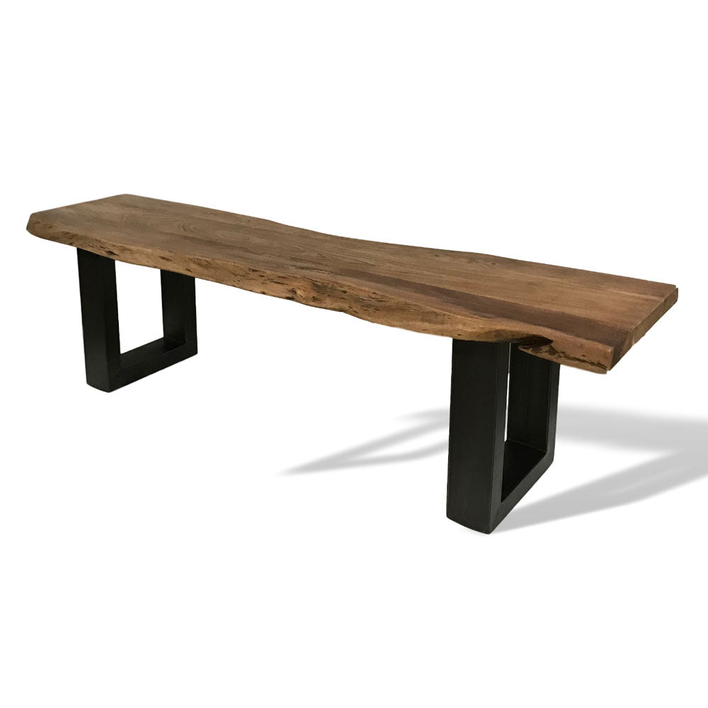Live edge acacia bench with U legs