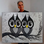 2 Owls painting by Leo Gobeil