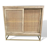 wabi-sabi mango wood and cane buffet