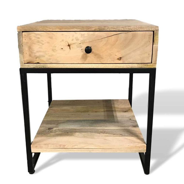 Mango wood end table with drawer
