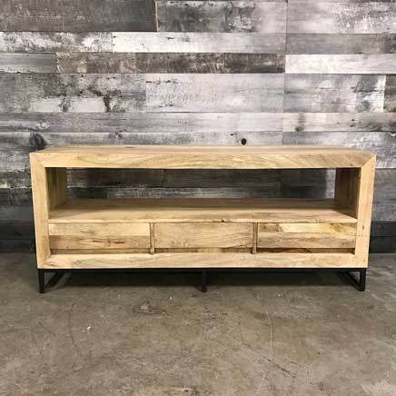 "Merapi 57"" industrial mango wood 3 drawer TV Stand"