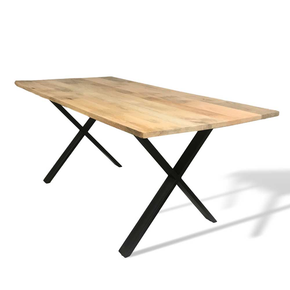 mango wood dining table with black X legs