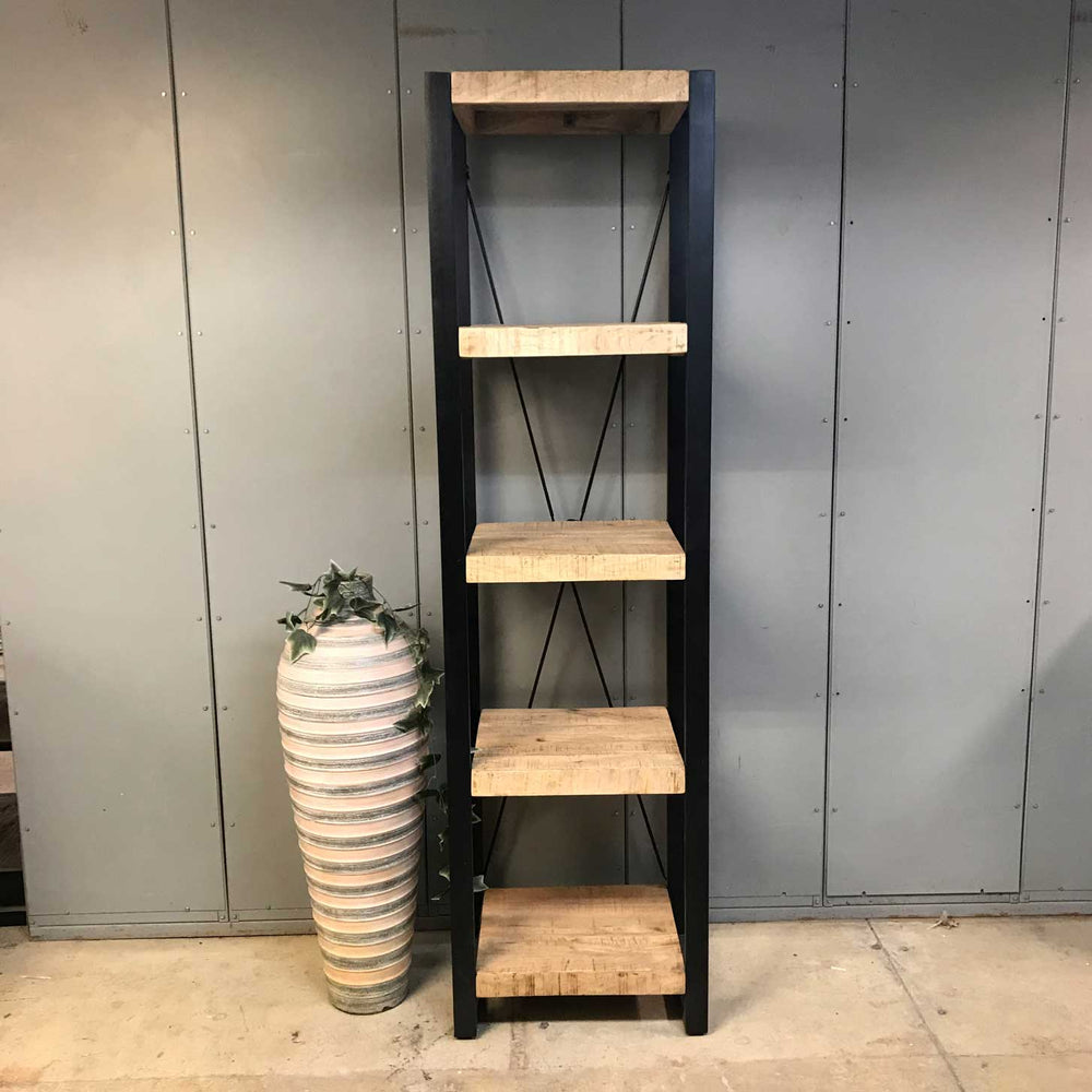 Industrial mango wood narrow bookcase