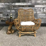 Rattan indoor lounge chair with cushion