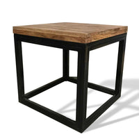 Square end table made from rosewood and metal