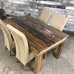 6 seater wood dining table