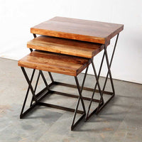 industrial nesting acacia end tables