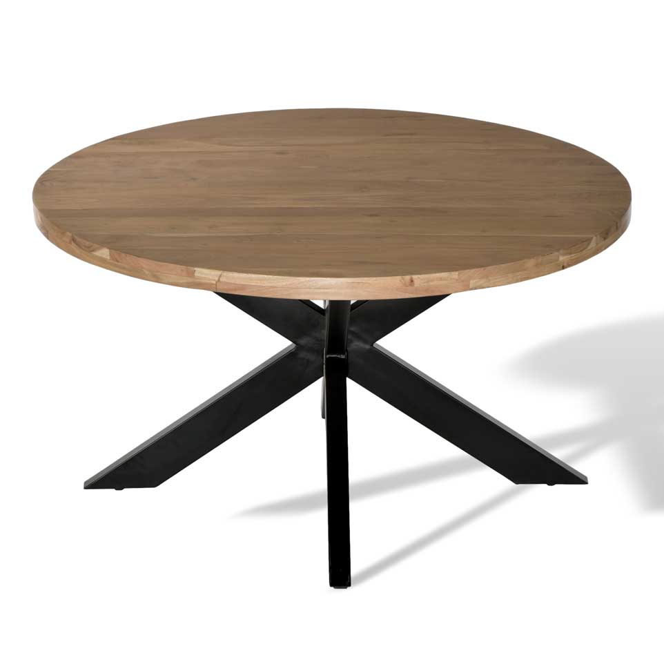 Acacia round dining table with metal legs seating up to 8 people