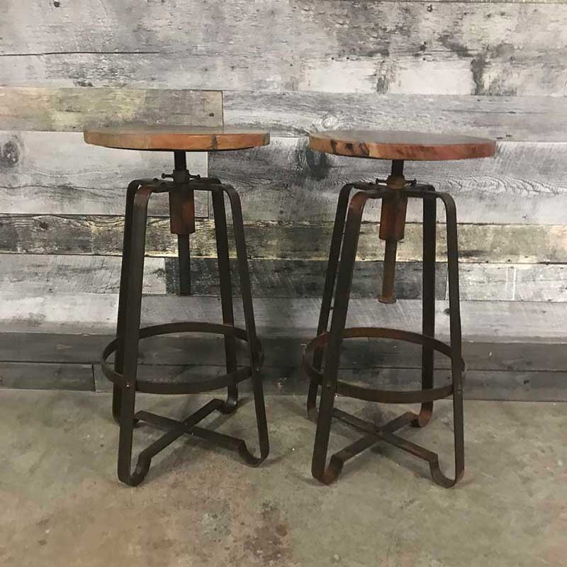 Dany Industrial rustic wood counter stool