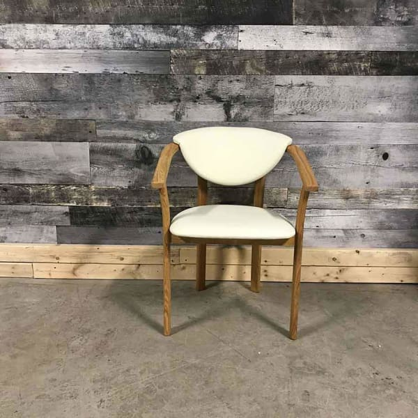 Alexis solid oak white leatherette chair