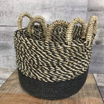 Black Handwoven Seagrass & Raffia Storage Baskets with handles (Set of 3) - $149.00
