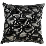 Black silver Embroidered cotton throw pillow 18 x 18
