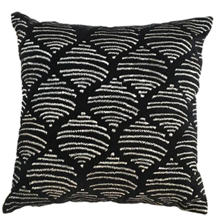 Black silver Embroidered cotton throw pillow 18 x 18 - $26.99