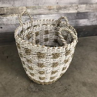 BRAIDED WHITE AND WICKER BASKETS WITH HANDLES (SET OF 2) - $139.00