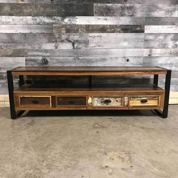 Cancun Industrial 71 reclaimed wood 4 drawer TV stand - $699.00