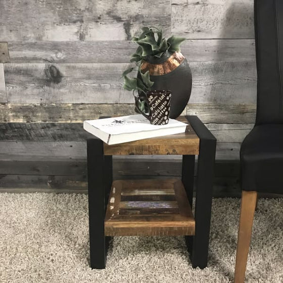 Cancun Industrial reclaimed wood end table - $149.00