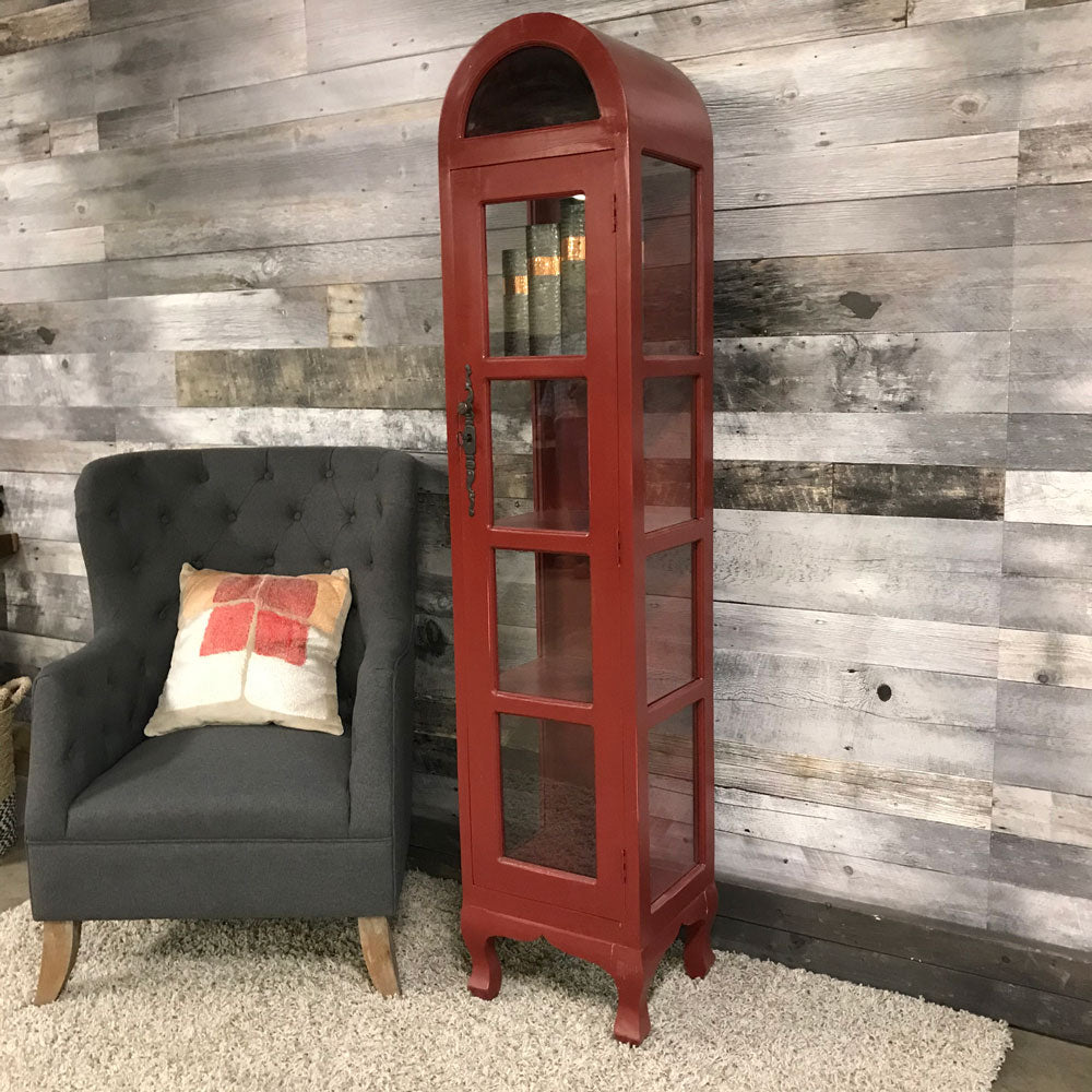 Distressed Red Wood Display Case with lock
