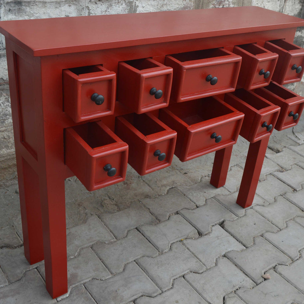 Red Lunenburg 10 drawer Console Table
