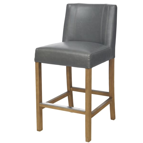 GREY BONDED LEATHER COUNTER HEIGHT STOOL