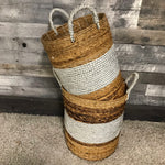 White and silver belly Seagrass storage Baskets (Set of 2)