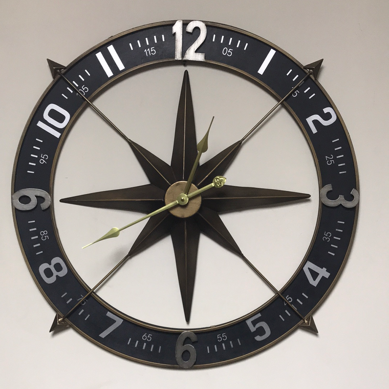 Oversize classic compass wall clock