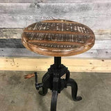Industrial cast iron adjustable stool with Acacia wood seat