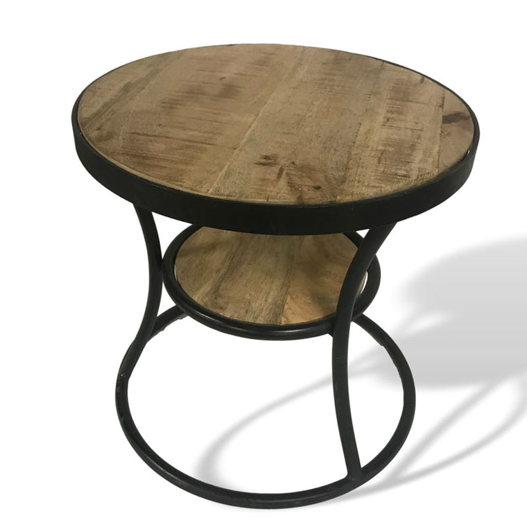 Tuff 18 inch round Reclaimed wood end table