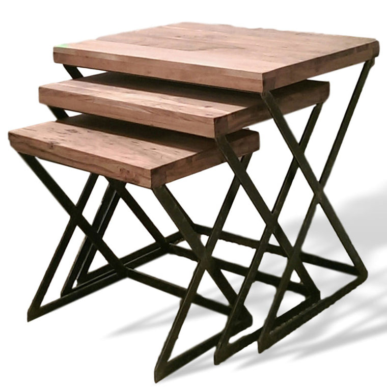 Set of 3 nesting acacia end tables