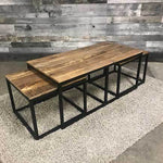 Industrial coffee tables set of three