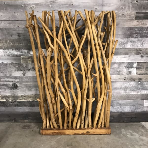 Large Natural Teak Single Panel Driftwood Room Divider