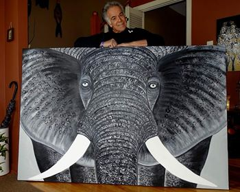 Elephant painting by Leo Gobeil