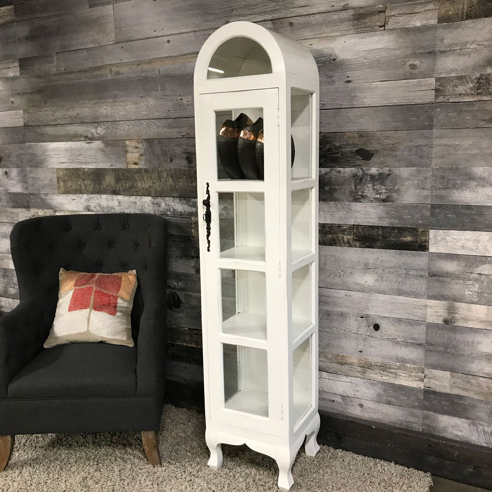 Distressed White Wood Display Case with lock