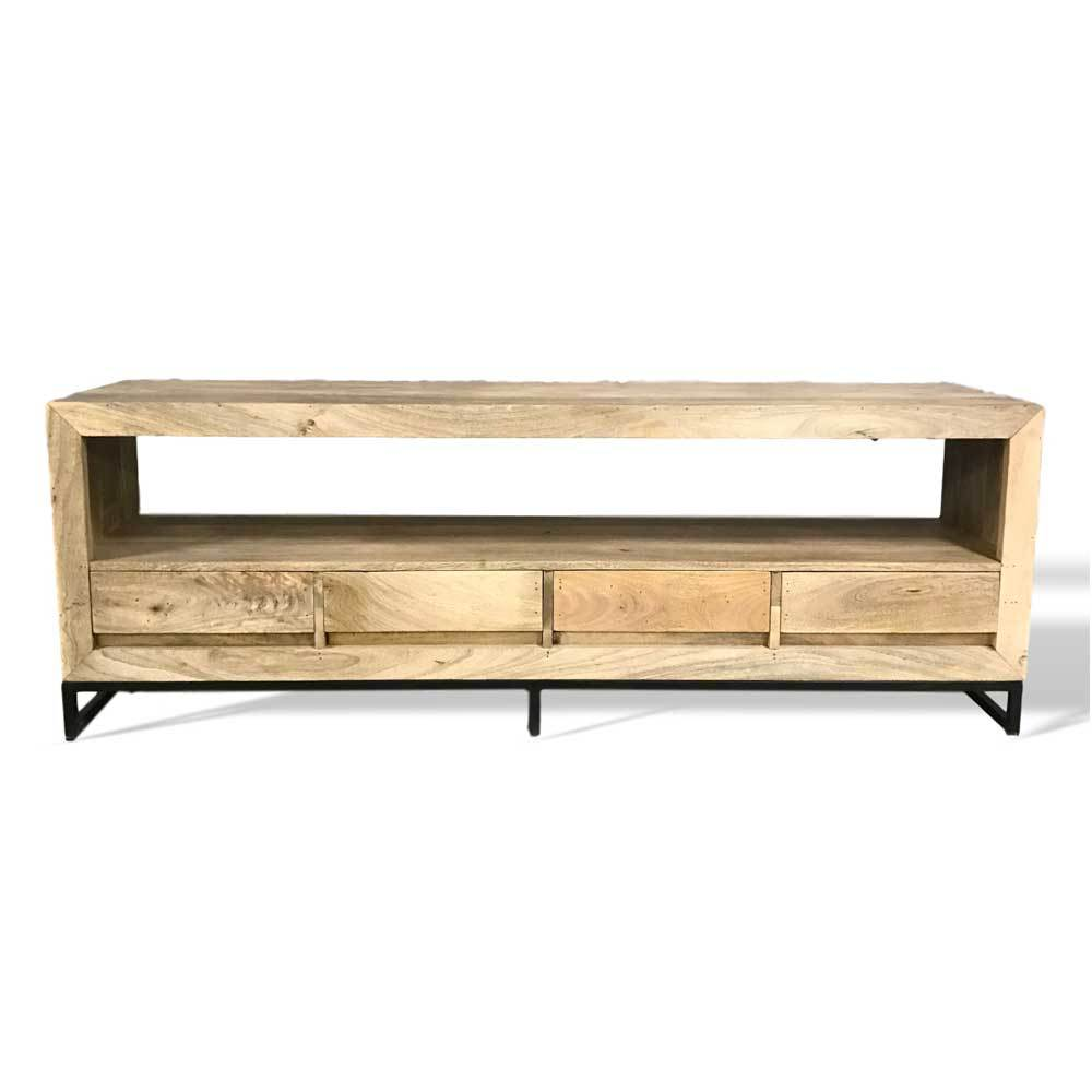 Solid mango wood tv stand with four drawers