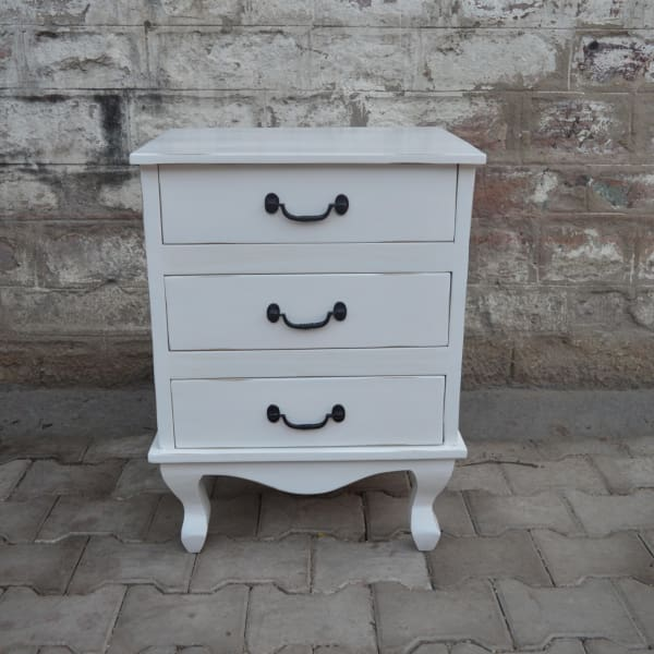 Lunenburg Vintage 3 Drawer Nightstand - WHITE